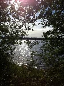 Solen glittrar i vattnet
