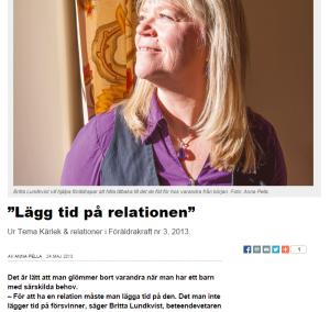 Britta Lundkvist i tidningen Föräldrakraft